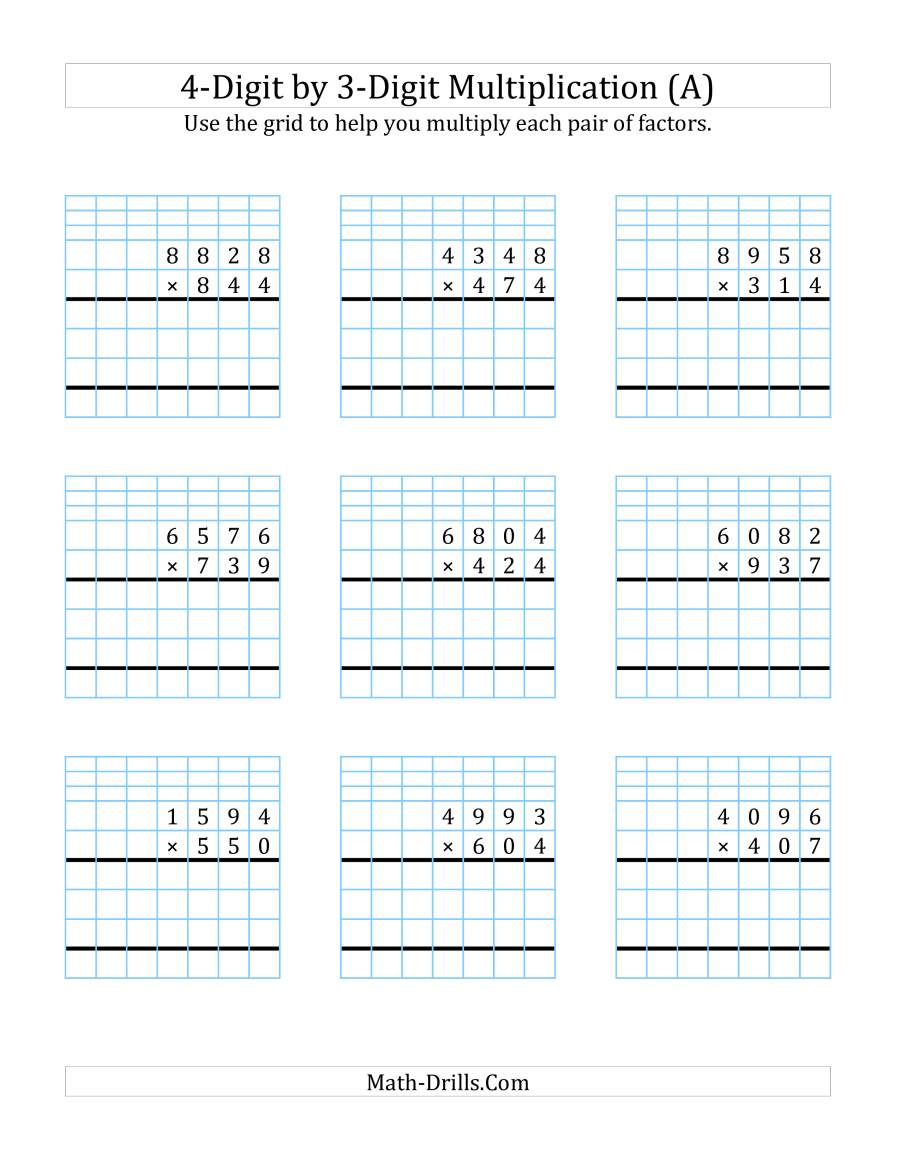 4-Digit3-Digit Multiplication With Grid Support (A) inside Printable Multiplication Worksheets 0-4