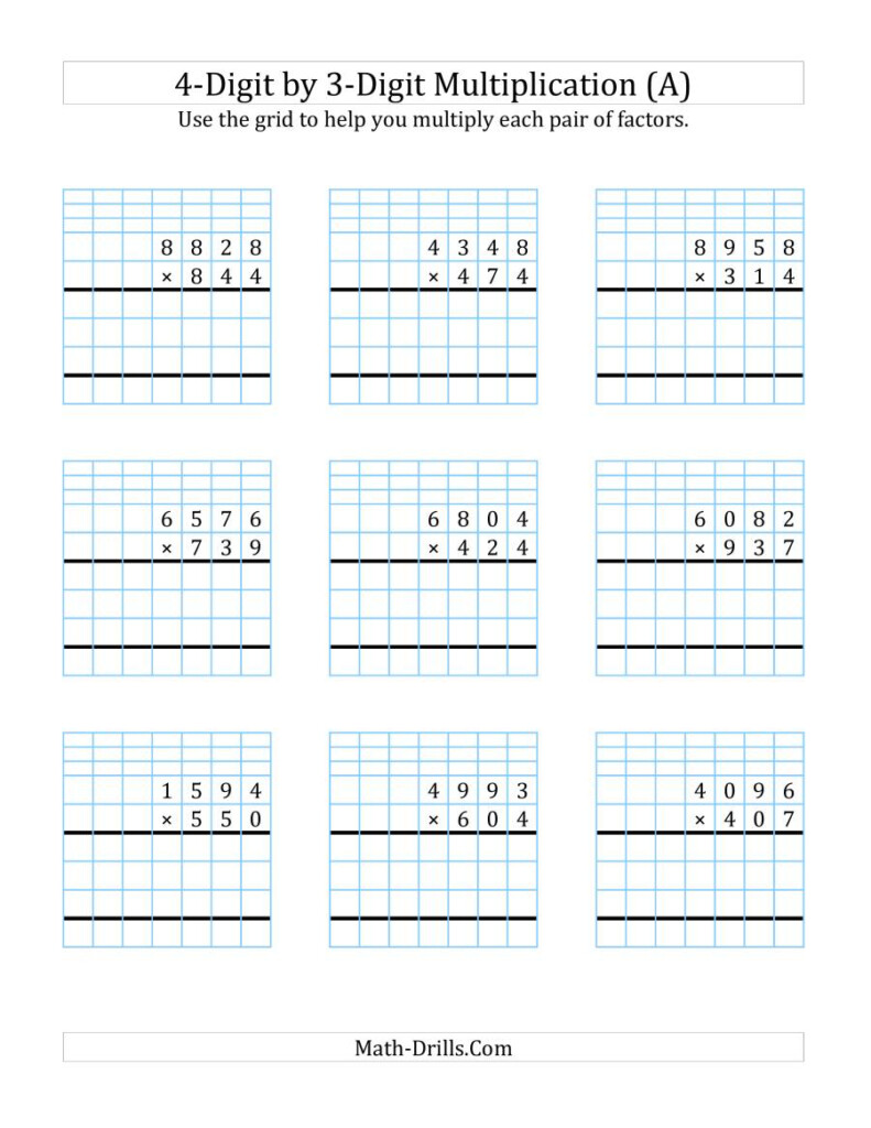 4 Digit3 Digit Multiplication With Grid Support (A) Regarding Multiplication Worksheets 4 Digit By 3 Digit