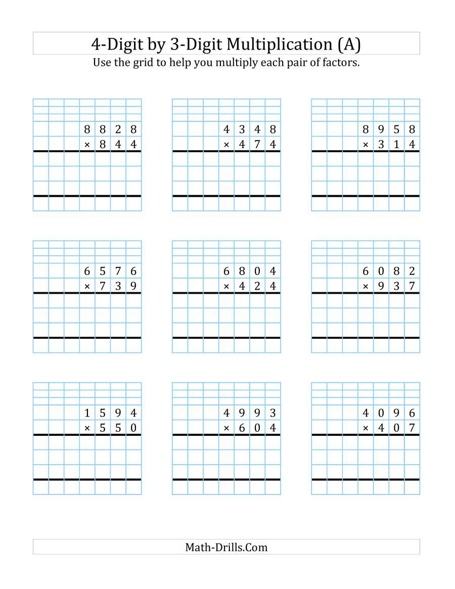 4-Digit3-Digit Multiplication With Grid Support (A) regarding Multiplication Worksheets 4 Digit By 3 Digit