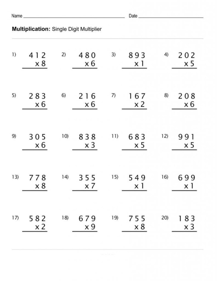 Multiplication Worksheets 4Th Grade
