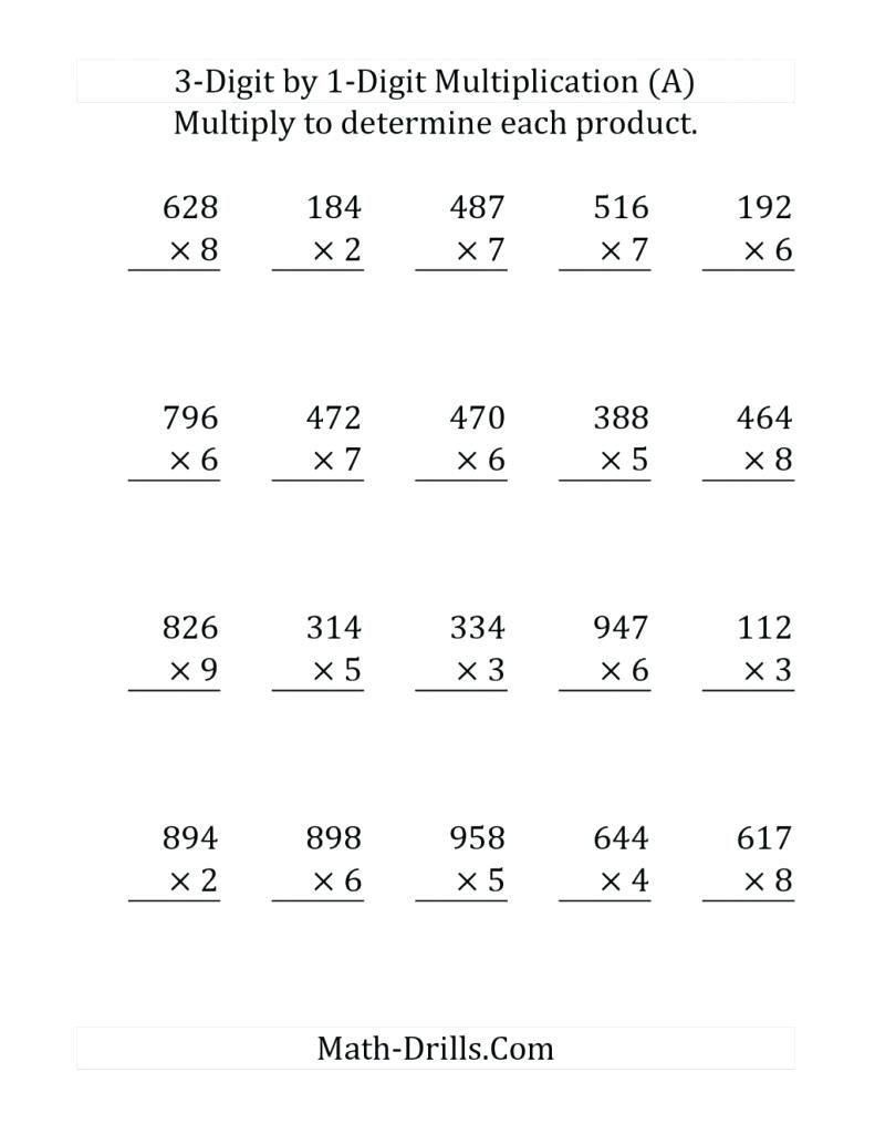 5Th Grade Multiplication Worksheets #3Digitmultiplication pertaining to Printable Multiplication Worksheets 4Th Grade