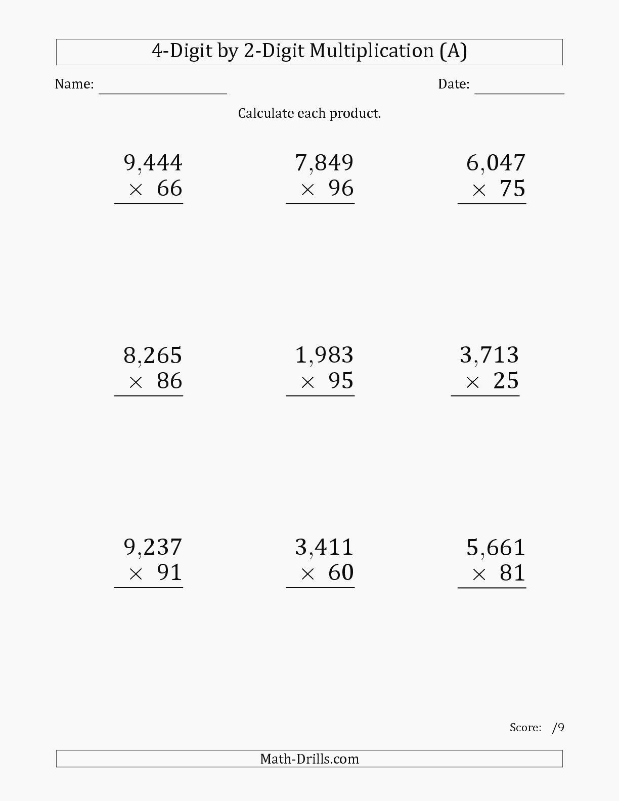 5Th Grade Multiplication Worksheets For Printable. 5Th Grade with Multiplication Worksheets 4 Digits