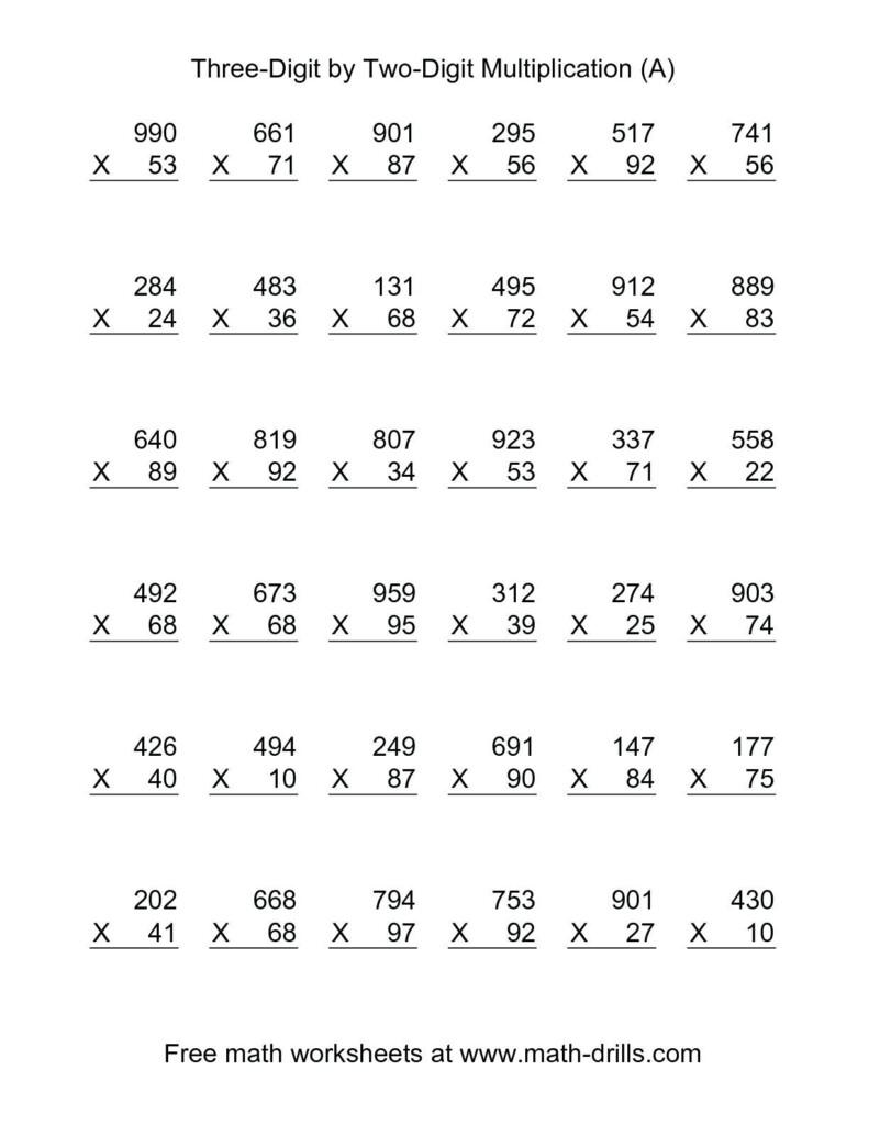 5Th Grade Multiplication Worksheets For Printable With Regard To Multiplication Worksheets Double Digit