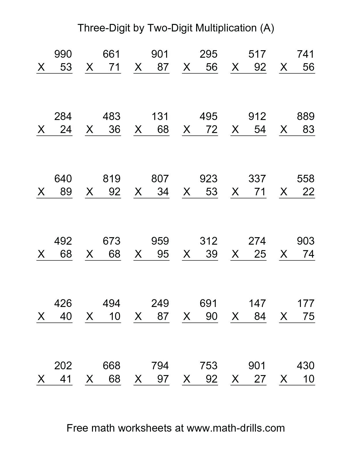 5Th Grade Multiplication Worksheets For Printable with regard to Multiplication Worksheets Double Digit