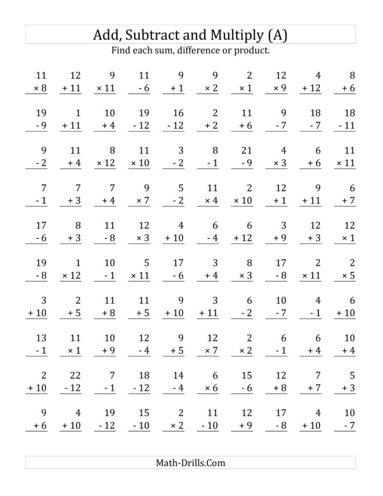 Adding, Subtracting And Multiplying With Facts From 1 To 12 (A) Inside Multiplication Worksheets Mixed