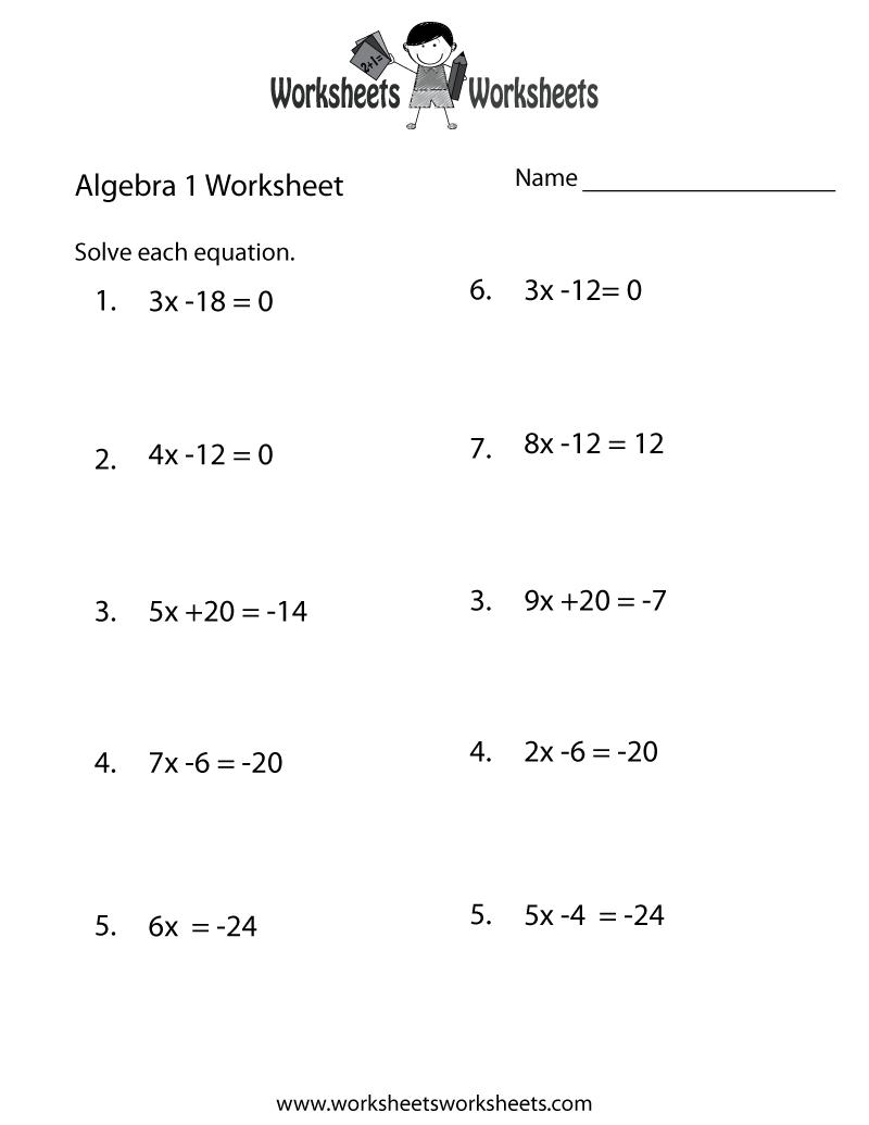 Algebra 1 Practice Worksheet Printable | Printable Math intended for Free Printable Multiplication Worksheets 7Th Grade