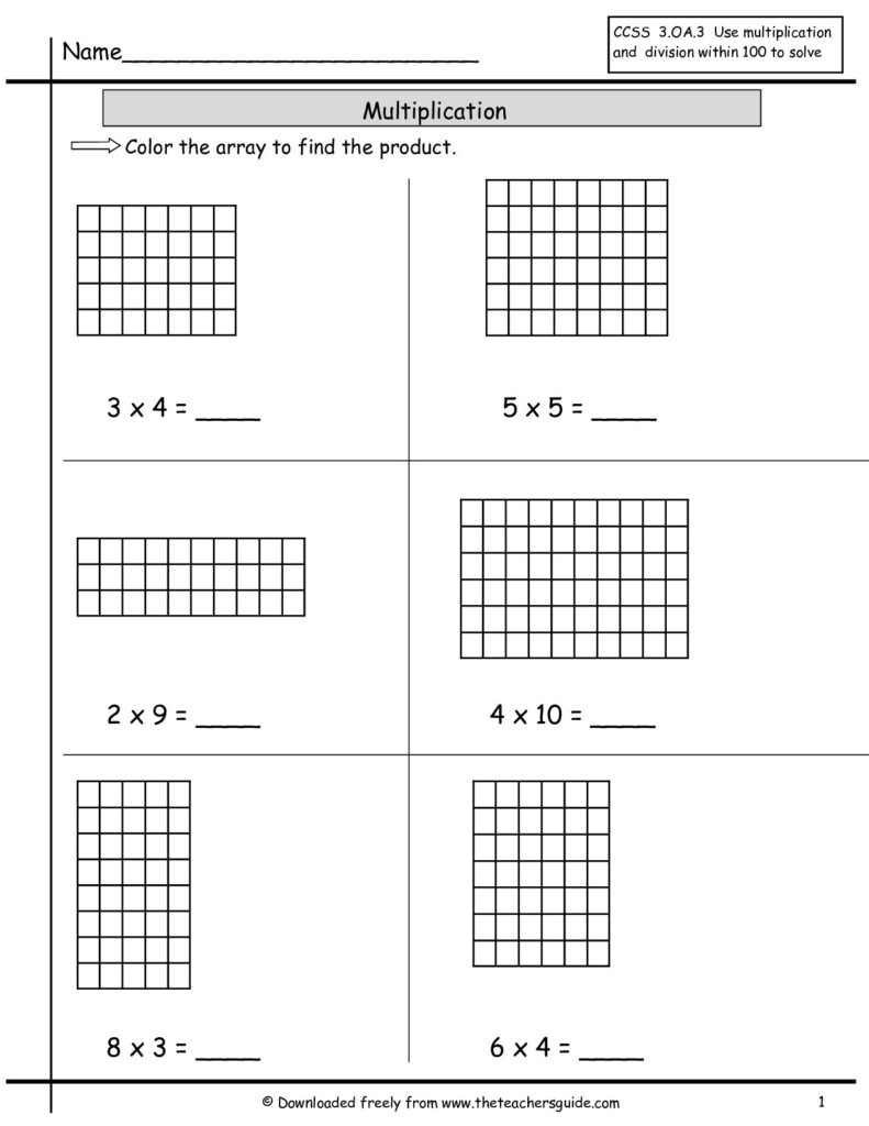 Array Multiplication Worksheets & Multiplication Worksheets Inside Worksheets Multiplication Using Arrays