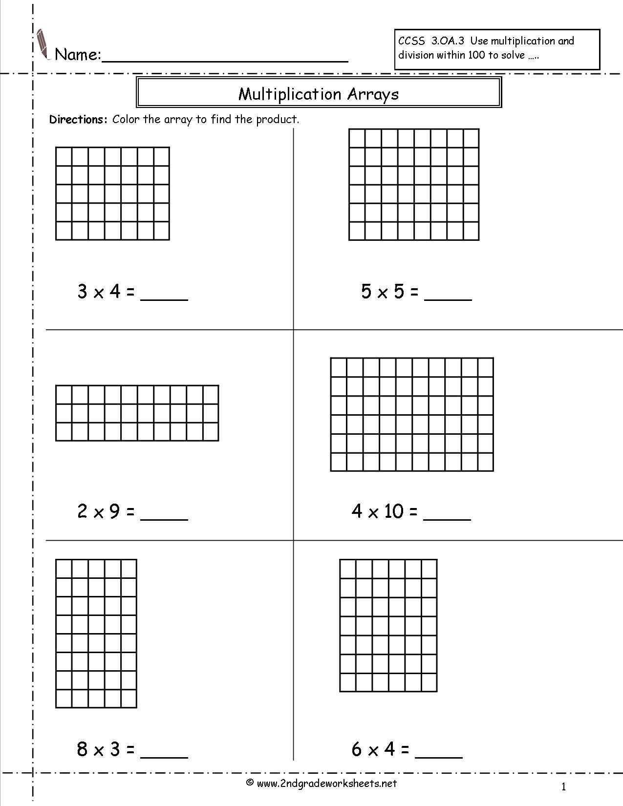 Arrays Worksheets | Multiplication Arrays Worksheets | Array within Multiplication Worksheets Area Model
