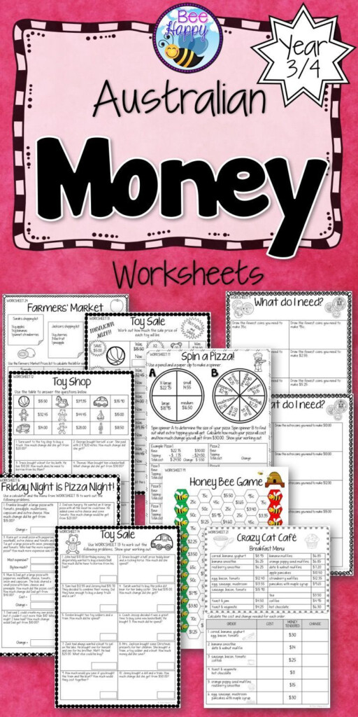 Australian Money Worksheets Year 3/4 | Money Worksheets With Multiplication Worksheets Year 3 Australia