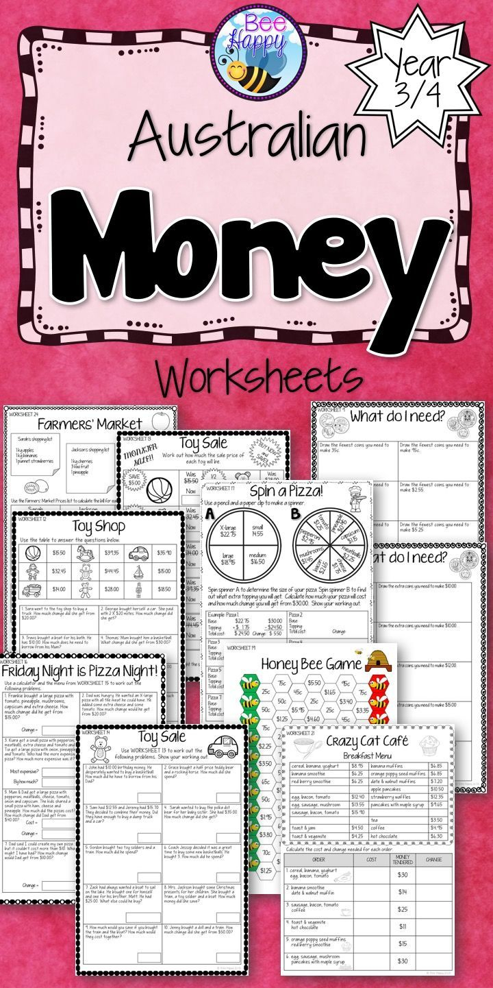 Australian Money Worksheets Year 3/4 | Money Worksheets with Multiplication Worksheets Year 3 Australia