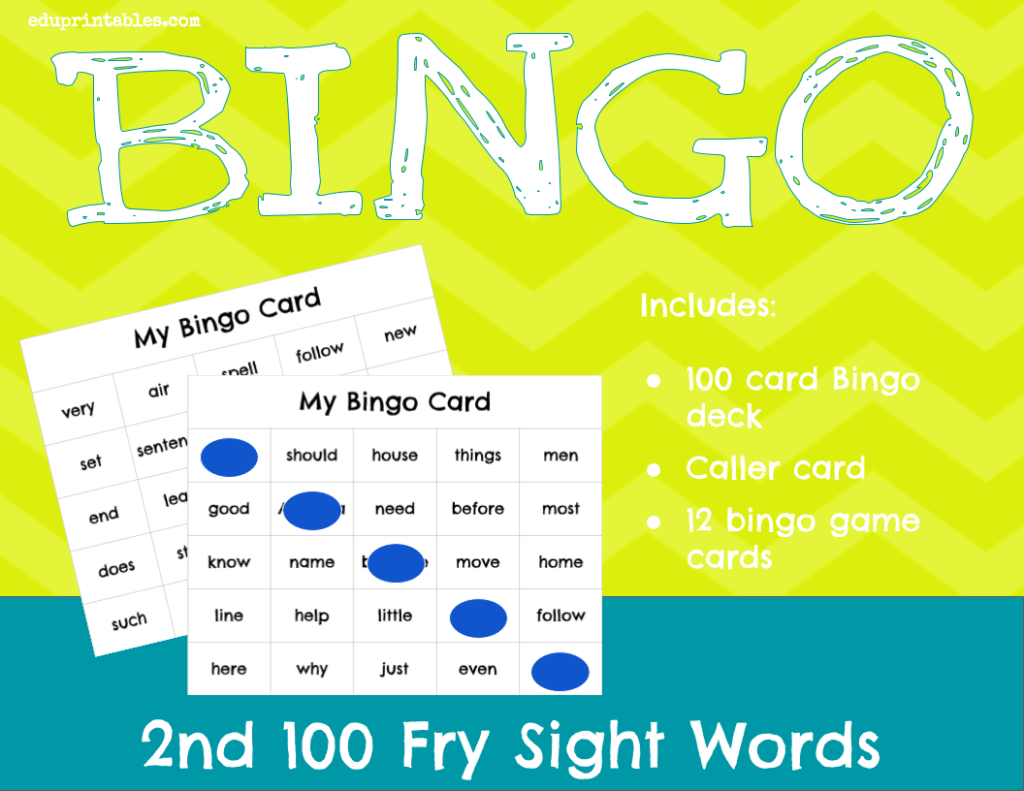 Bingo! 2Nd 100 Fry Sight Words – Eduprintables In Printable Multiplication Bingo Calling Cards