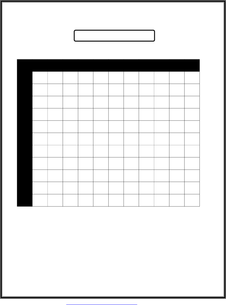 Blank Multiplication Chart With Answers Free Download Pertaining To Printable Empty Multiplication Chart