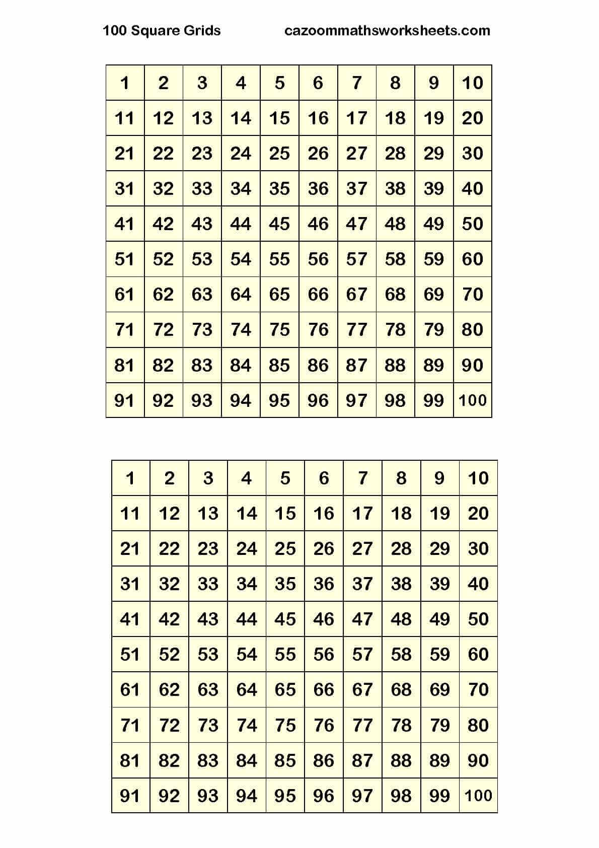 Cazoom Maths Worksheets - Number Resources, Math Worksheets pertaining to Printable Multiplication Chart 4 Per Page