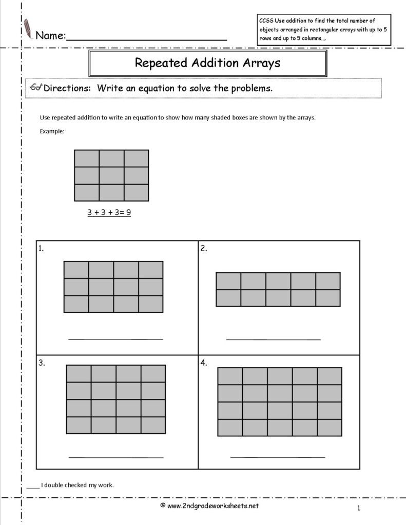 Ccss 2.oa.4 Worksheets With Regard To Multiplication Worksheets As Repeated Addition