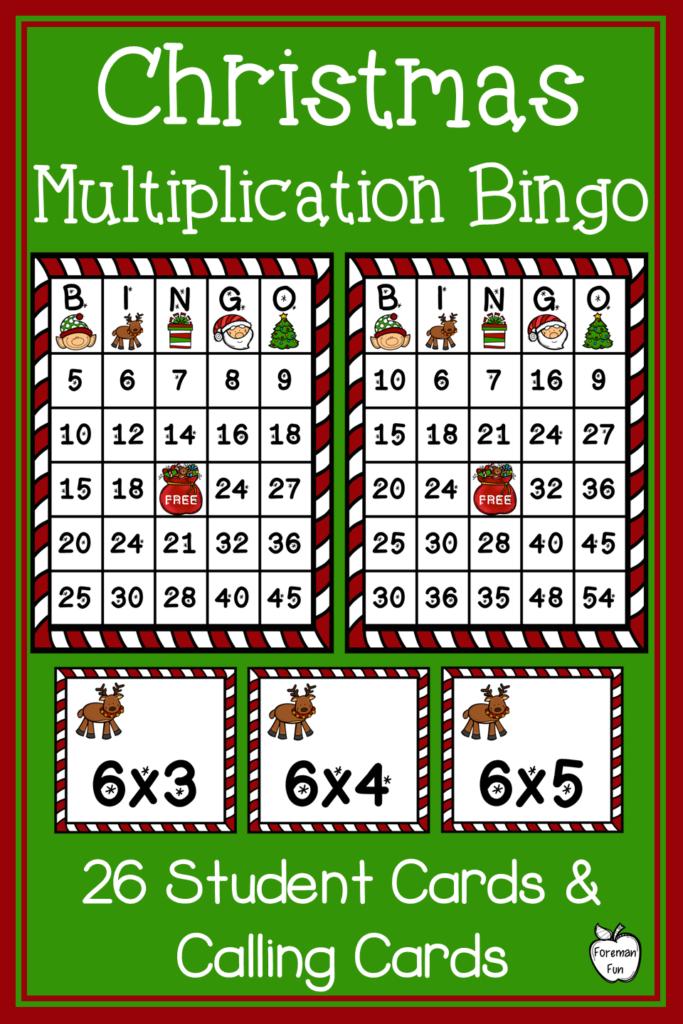 Christmas Multiplication Bingo ~ Class Party Game ~ Grades 3 For Printable Multiplication Bingo Game