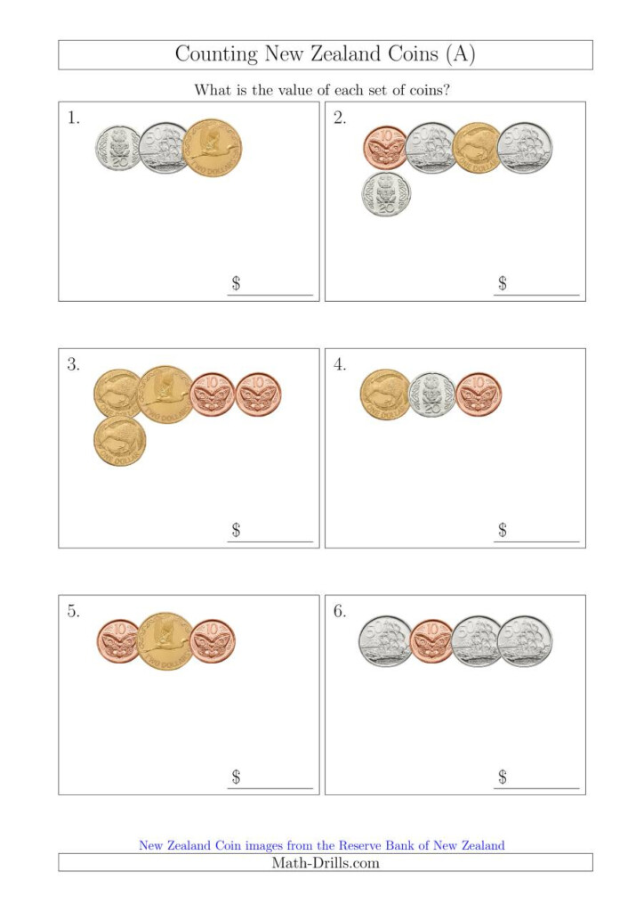 Counting Small Collections Of New Zealand Coins (A) With Regard To Multiplication Worksheets Nz