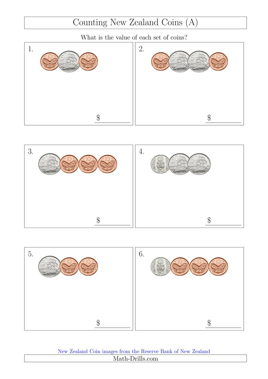Counting Small Collections Of New Zealand Coins (No Dollars) (A) with Multiplication Worksheets Nz