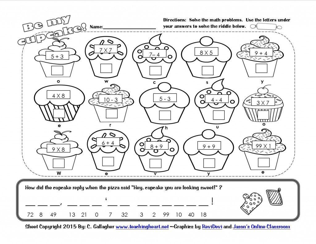 Cupcake Math Riddle Worksheet Printable | Math Coloring pertaining to Multiplication Worksheets Valentines