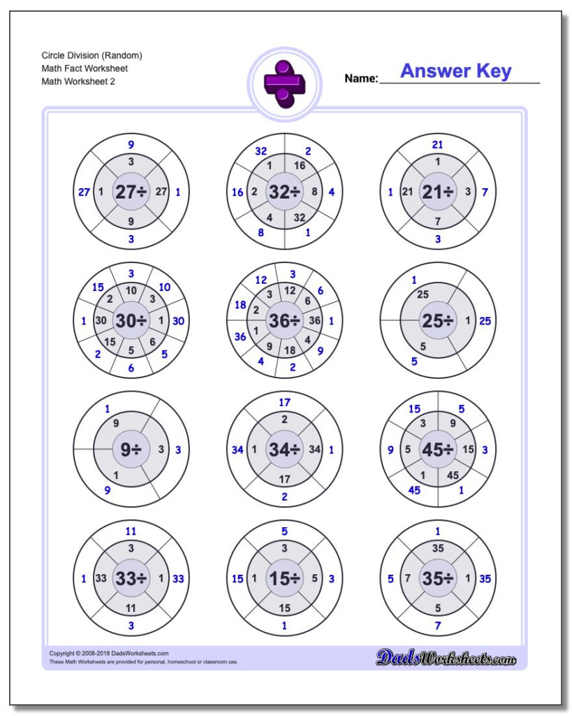 Division Fact Circles Throughout Multiplication Worksheets Random