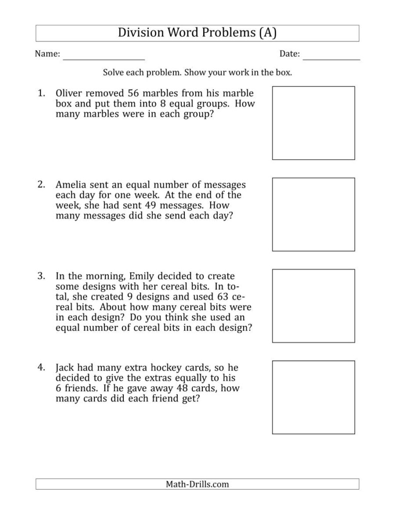 Division Word Problems With Division Facts From 5 To 12 (A) Inside Printable Multiplication And Division Word Problems