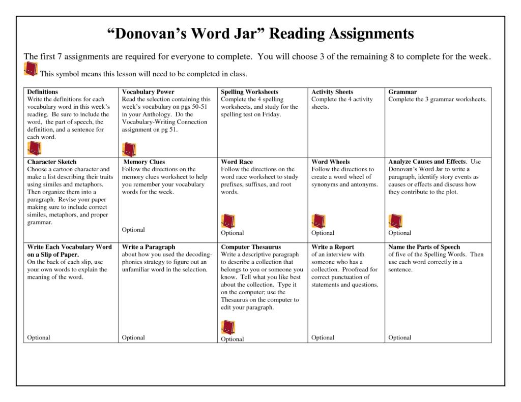 Donovan's Word Jar Lesson Plans   Spelling Worksheets   Doc With Multiplication Worksheets Doc