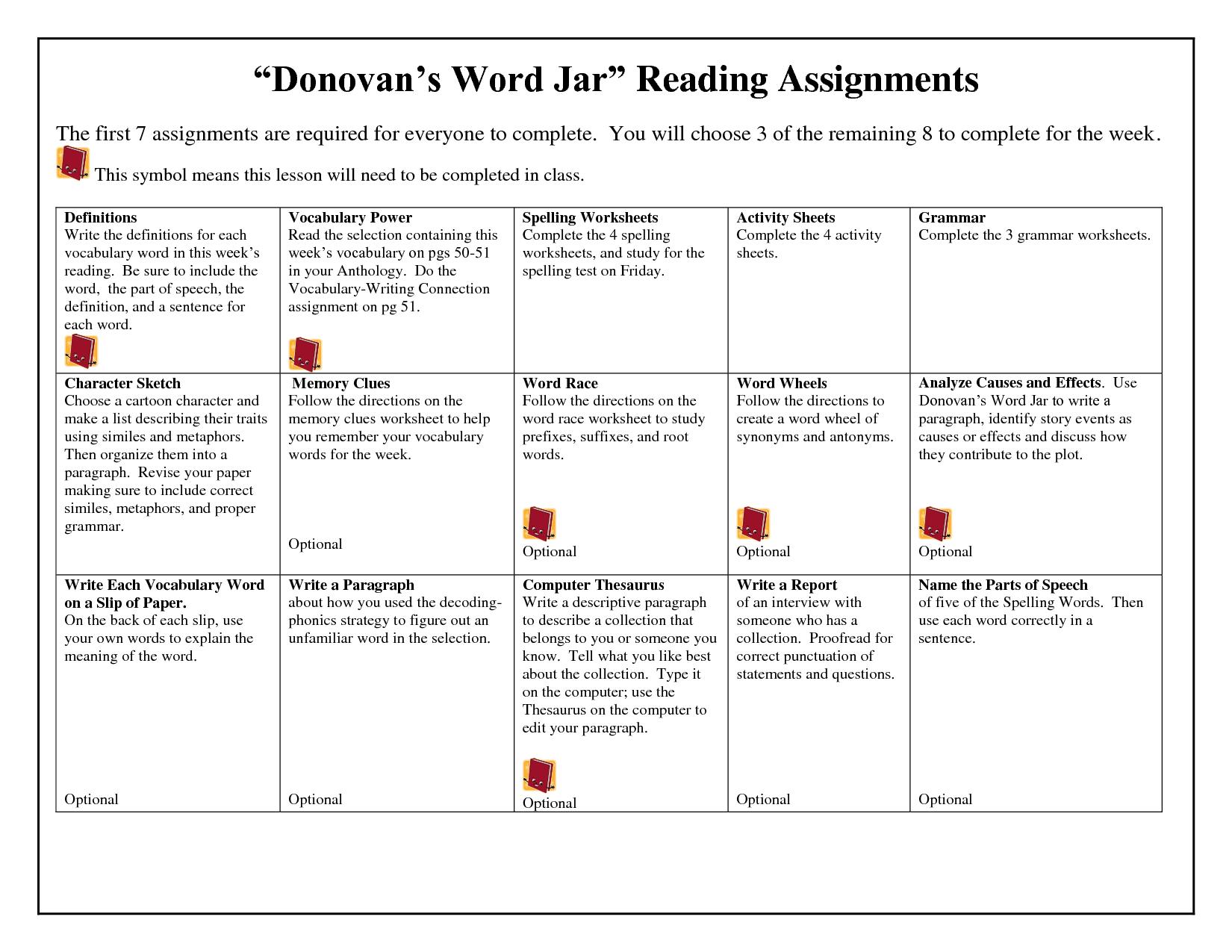 Donovan's Word Jar Lesson Plans   Spelling Worksheets - Doc with Multiplication Worksheets Doc