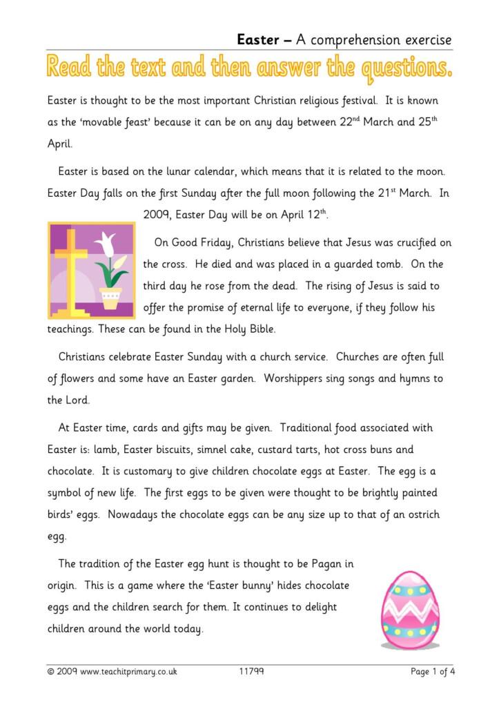 Easter Reading Comprehension | Traditions | Worksheets | Ks2 With Multiplication Worksheets Uk