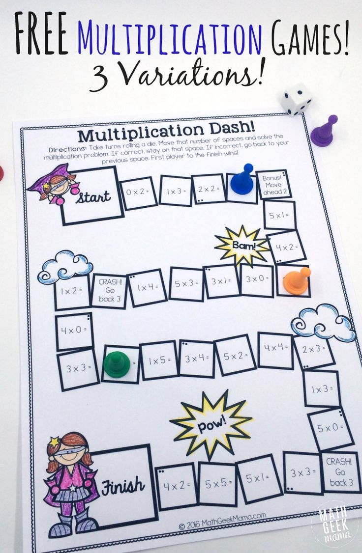 Easy, Low Prep Printable Multiplication Games! {Free}   Math inside Printable Multiplication Board Games For 3Rd Grade
