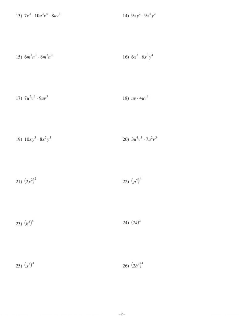 Exponents And Multiplication   Kuta Software Llc Pages 1   4 With Multiplication Worksheets Kuta