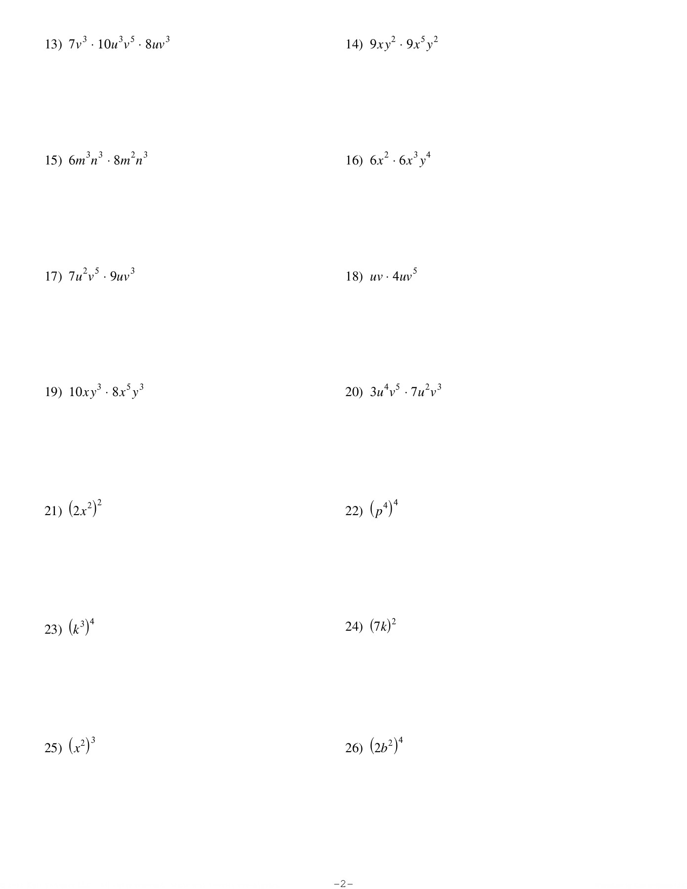 Exponents And Multiplication - Kuta Software Llc Pages 1 - 4 with Multiplication Worksheets Kuta