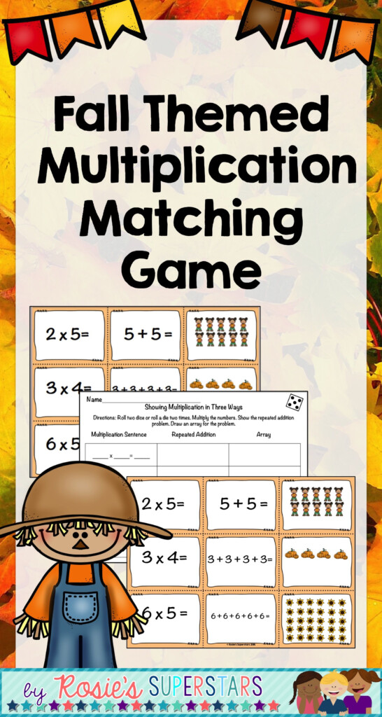 Fall Themed Multiplication Matching Game | Multiplication Within Printable Multiplication Memory Game