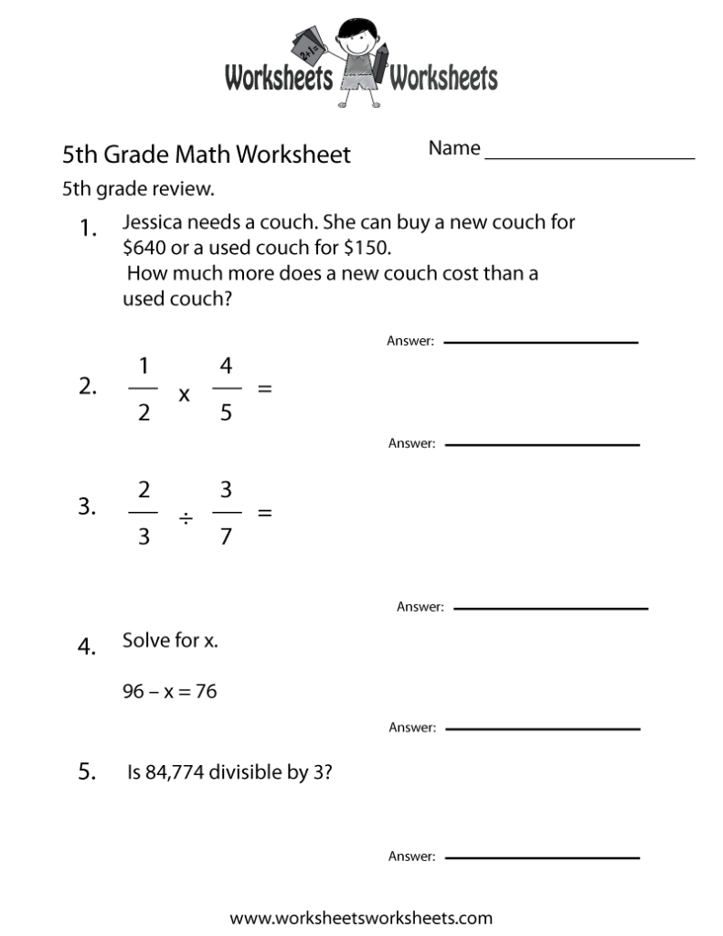Fifth Grade Math Practice Worksheet   Free Printable Intended For Multiplication Printables 5Th Grade