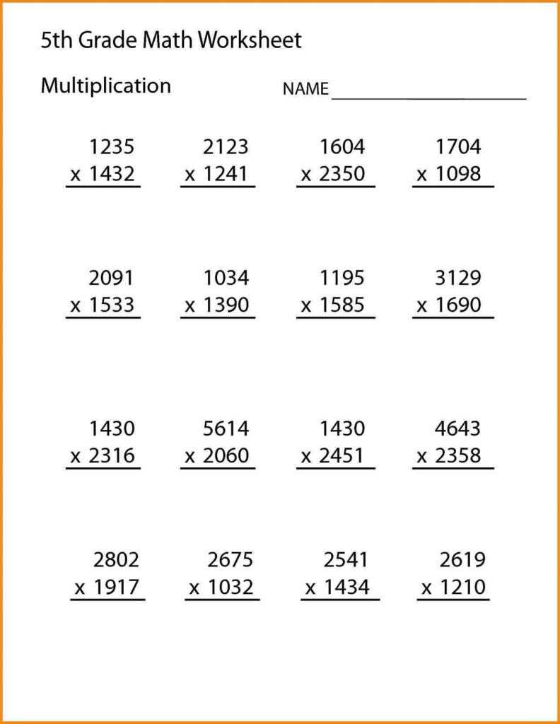 Fifth Grade Math Worksheets | Printable Shelter Pertaining To Multiplication Worksheets 5Th Grade
