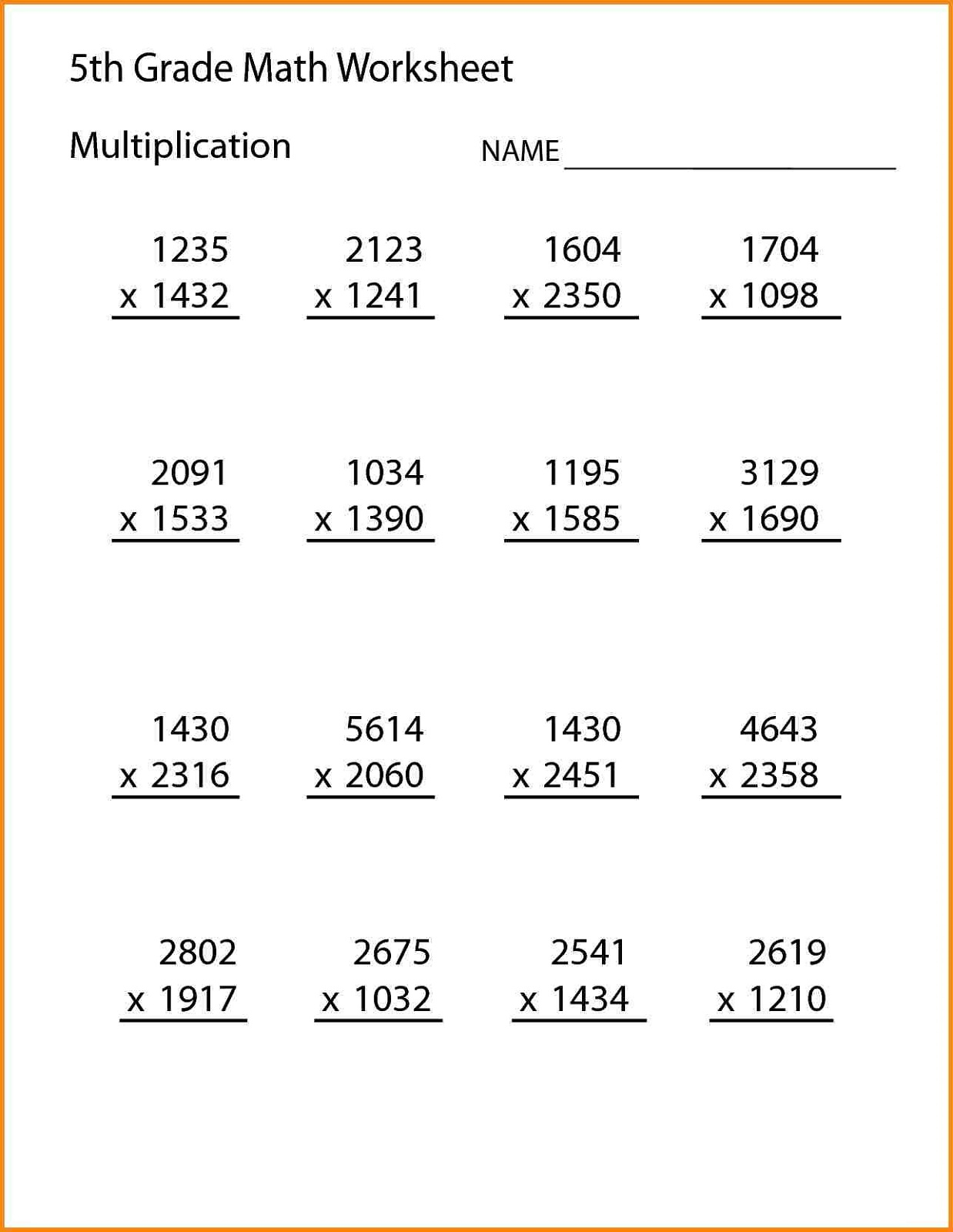 Fifth Grade Math Worksheets | Printable Shelter within Printable Multiplication Problems For 5Th Grade