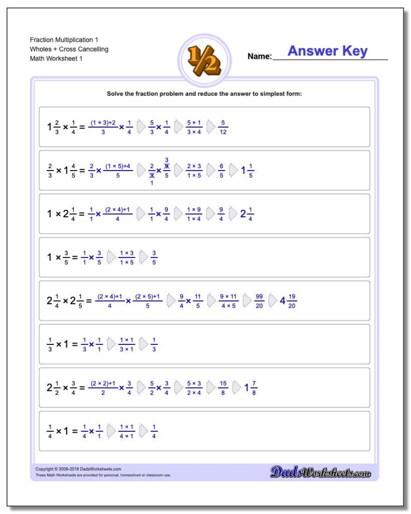 Fraction Multiplication For Multiplication Worksheets Online Free