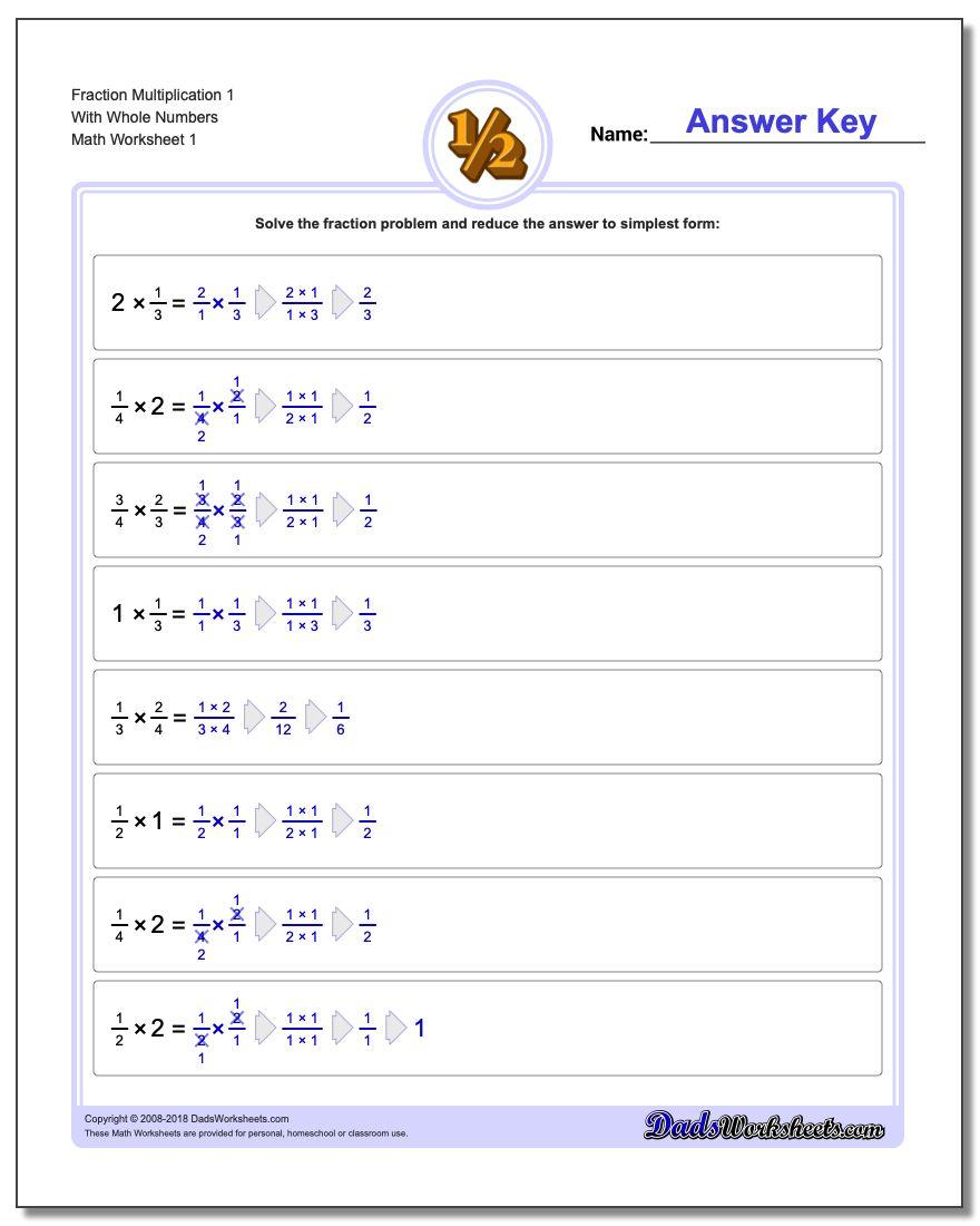 Fraction Multiplication in Worksheets Multiplication Of Fractions