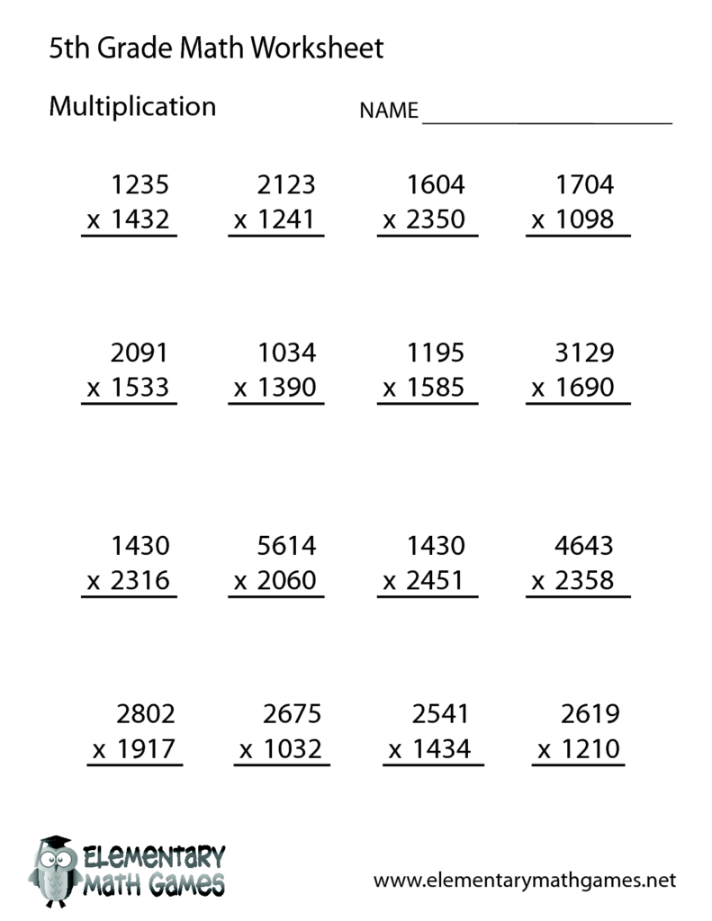 Free Math Worksheets For 5Th Grade | 5Th Grade Math Inside Worksheets In Multiplication For Grade 5