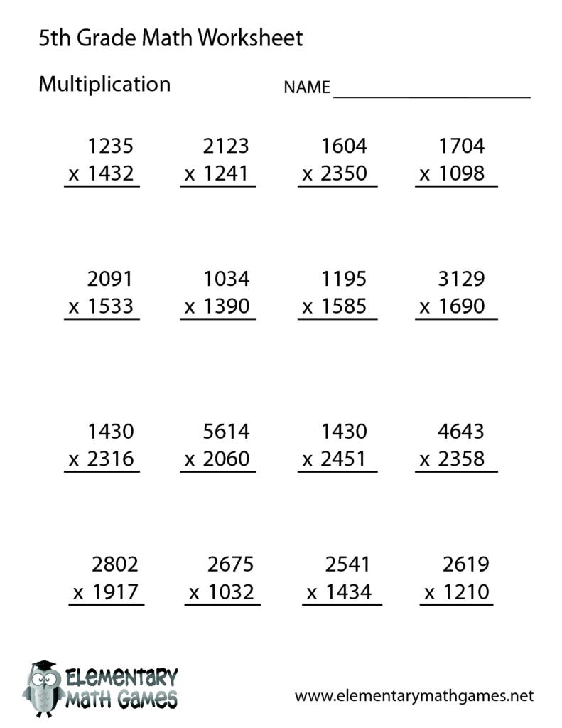 Free Math Worksheets For 5Th Grade   5Th Grade Math Regarding Multiplication Worksheets 5 Grade