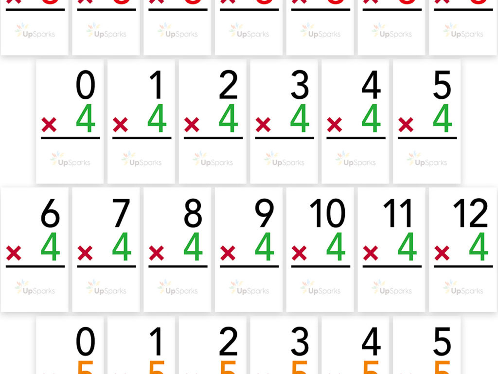 Free Multiplication Flash Cards Printable Sheets From Upsparks for Printable Math Multiplication Flash Cards