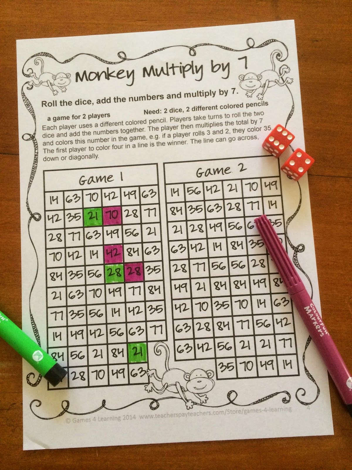 Free No Prep Multiplication Games For Fact Fluency | Math for Printable Multiplication Games Ks2