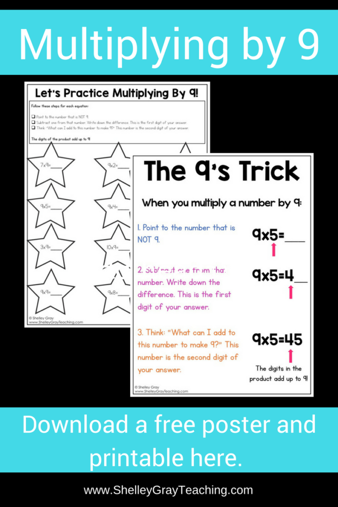 Free Poster For The 9's Multiplication Facts   Shelley Gray Within Printable Multiplication Strategy Mat