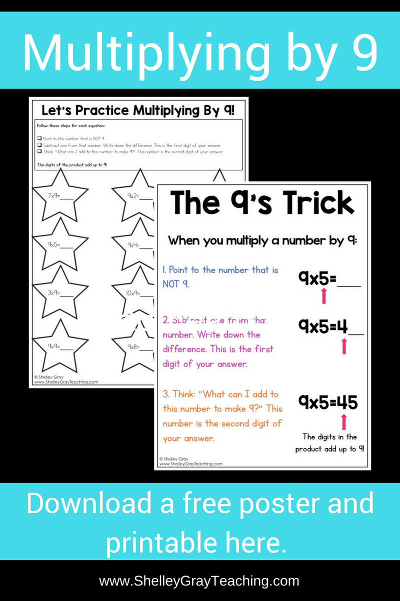 Free Poster For The 9's Multiplication Facts - Shelley Gray within Printable Multiplication Strategy Mat