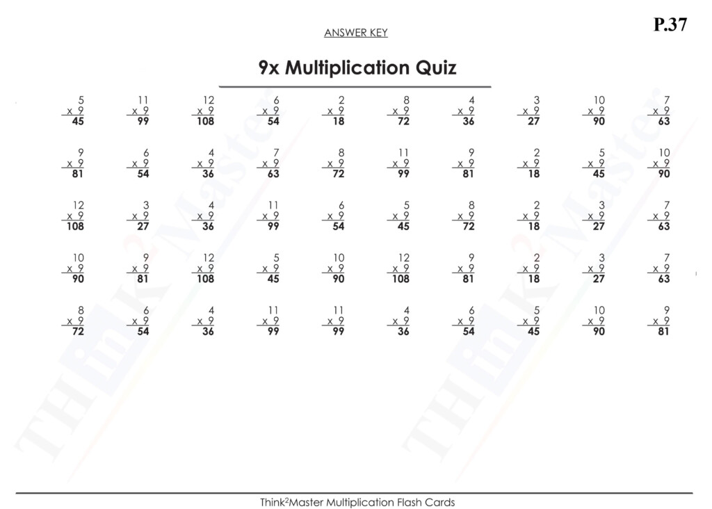 Free Printable 9X Multiplication Quiz Answers   Free In Multiplication Worksheets 9X