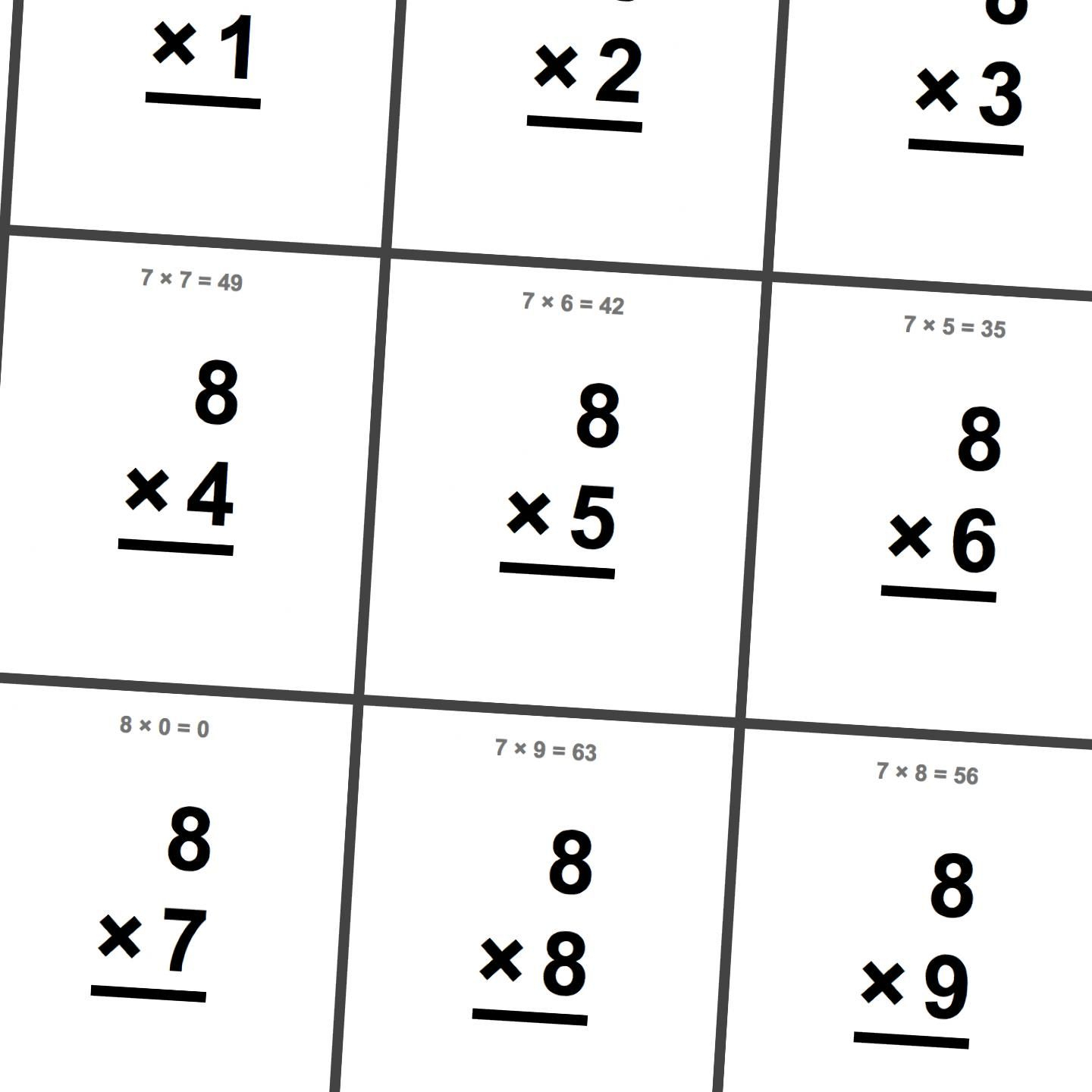 Free Printable Flash Cards For Multiplication Math Facts in Printable Multiplication Facts Cards