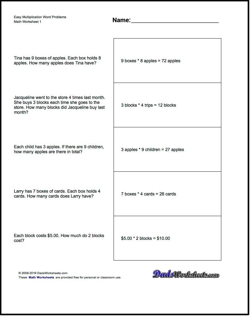 Free Printable Introductory Word Problem Worksheets For for Printable Multiplication Word Problems