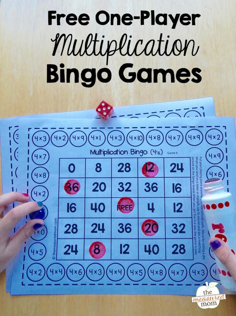 Free Single Player Multiplication Bingo Games   The Measured Mom Inside Printable Multiplication Bingo