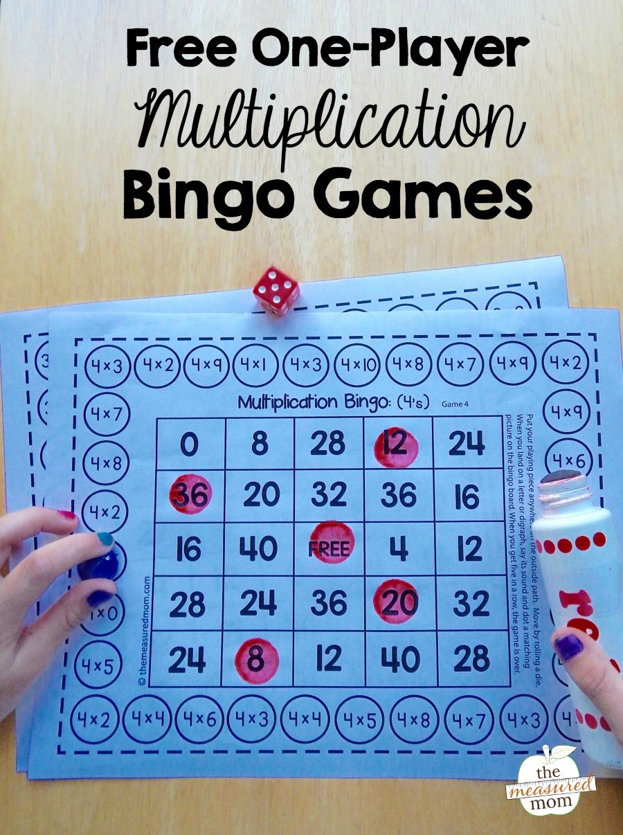 Free Single-Player Multiplication Bingo Games - The Measured Mom inside Printable Multiplication Bingo