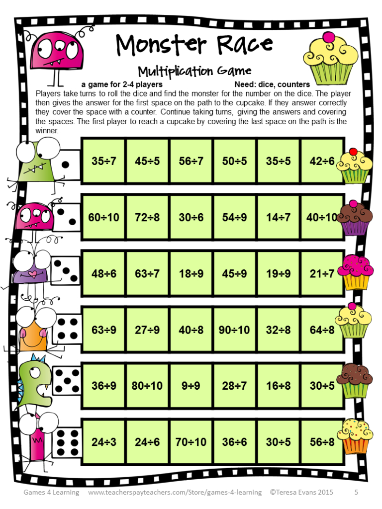 Fun Games 4 Learning: Freebies | Math Division With Regard To Printable Multiplication And Division Games