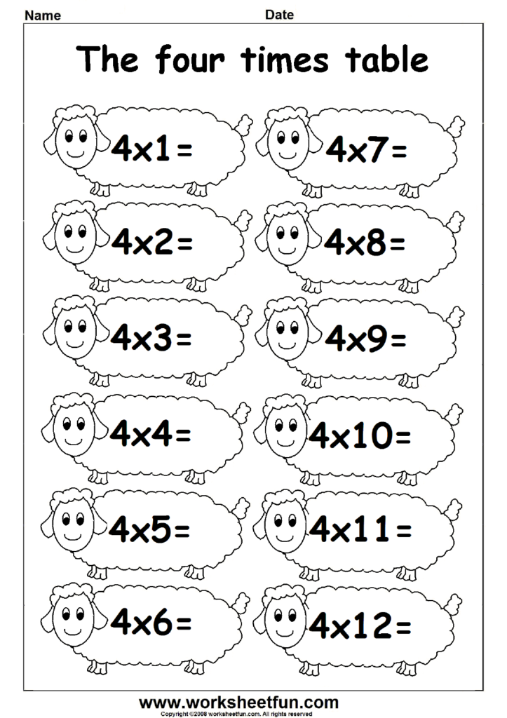 Fun Times Table Worksheets   2, 3 & 4 | Fichas De Exercícios Inside Multiplication Worksheets 4 Times Tables