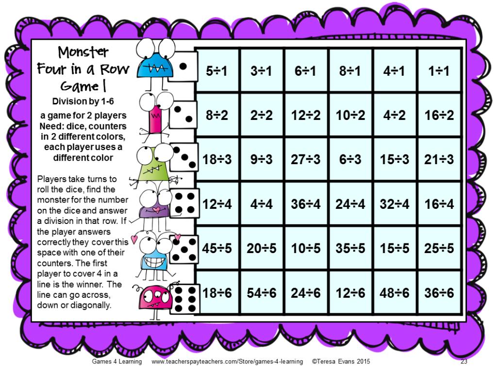 Games Educational: 2015 Regarding Printable Multiplication And Division Games
